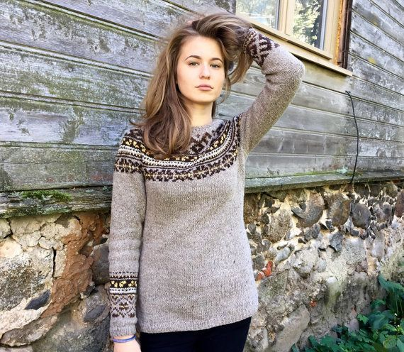 Fair Isle sweater Icelandic sweater Taupe sweater Women's by adaLV ...