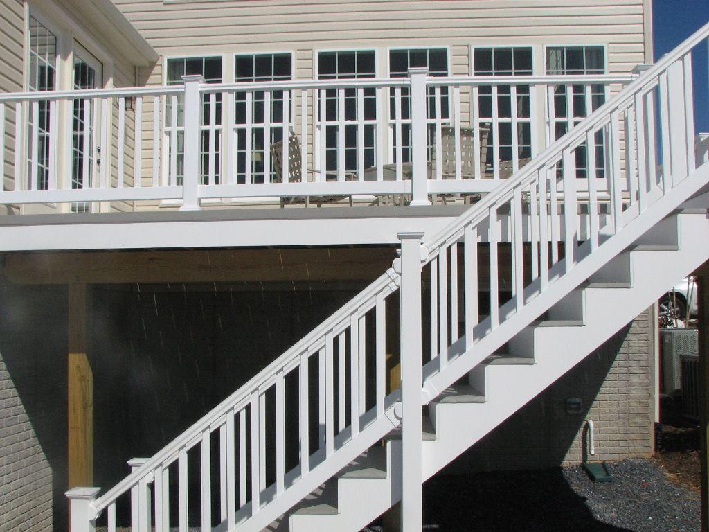 longevity white pvc railing landing and slate grey deck steps hnh deck steps staircases. Black Bedroom Furniture Sets. Home Design Ideas