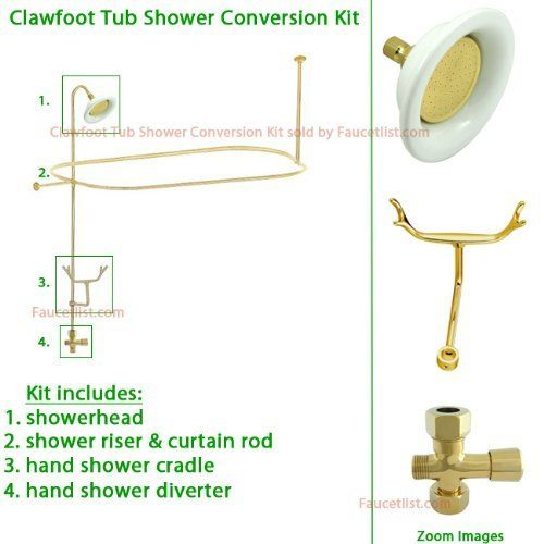 Polished Brass Clawfoot Tub Shower Kit By Kingston Brass