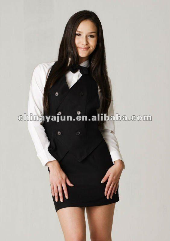 5e0115cdda women in vest dress shirt and skirt waitress uniform - Google Search ...
