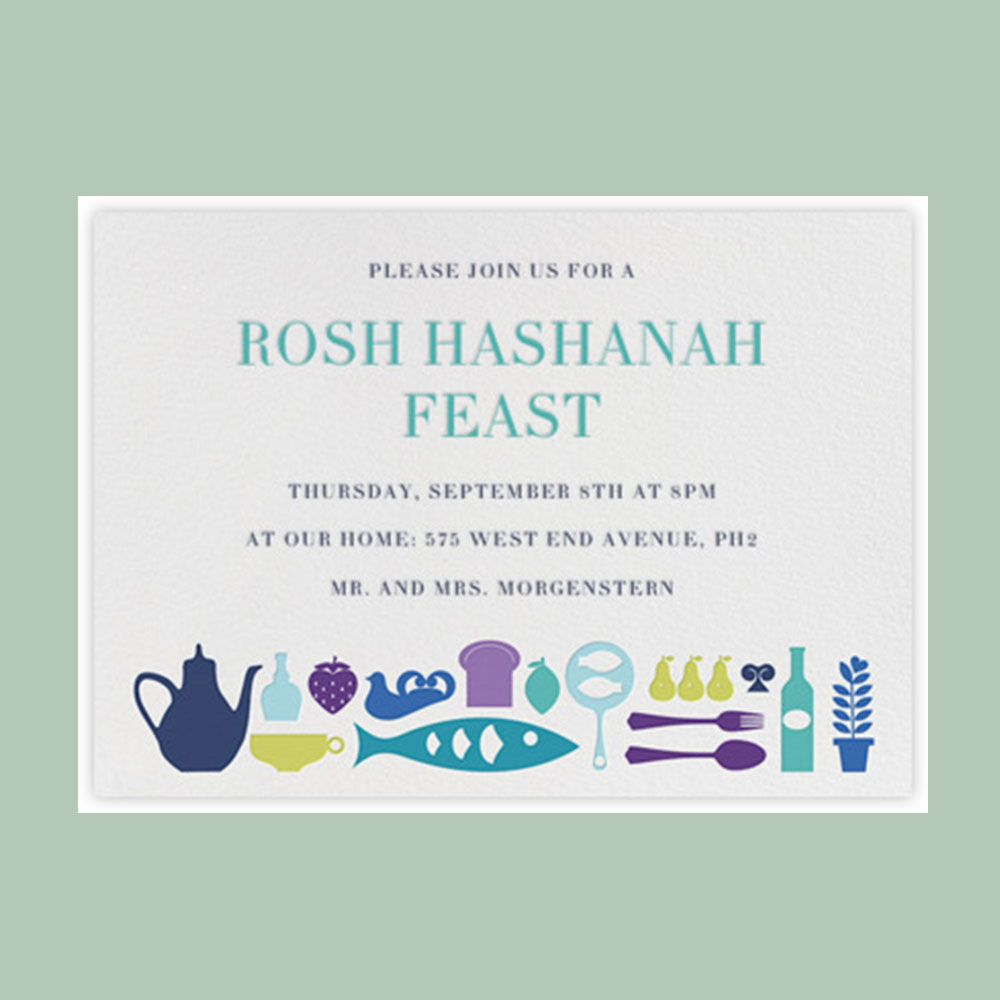 Party fishes rosh hashanah feast invitation sample design gray rosh hashanah online card and invitation templates to check out kristyandbryce Choice Image