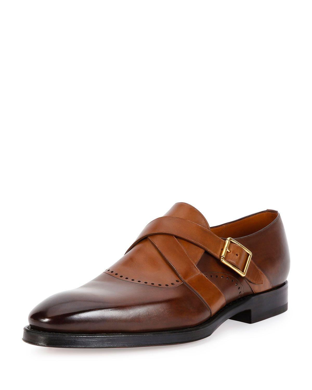 Schuman Leather Monk-Strap Shoe, Brown