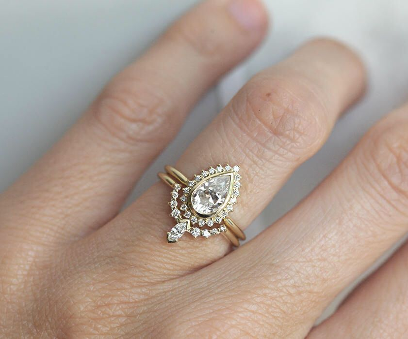 Moissanite And Diamond Ring Set In 14k Or 18k Solid Gold