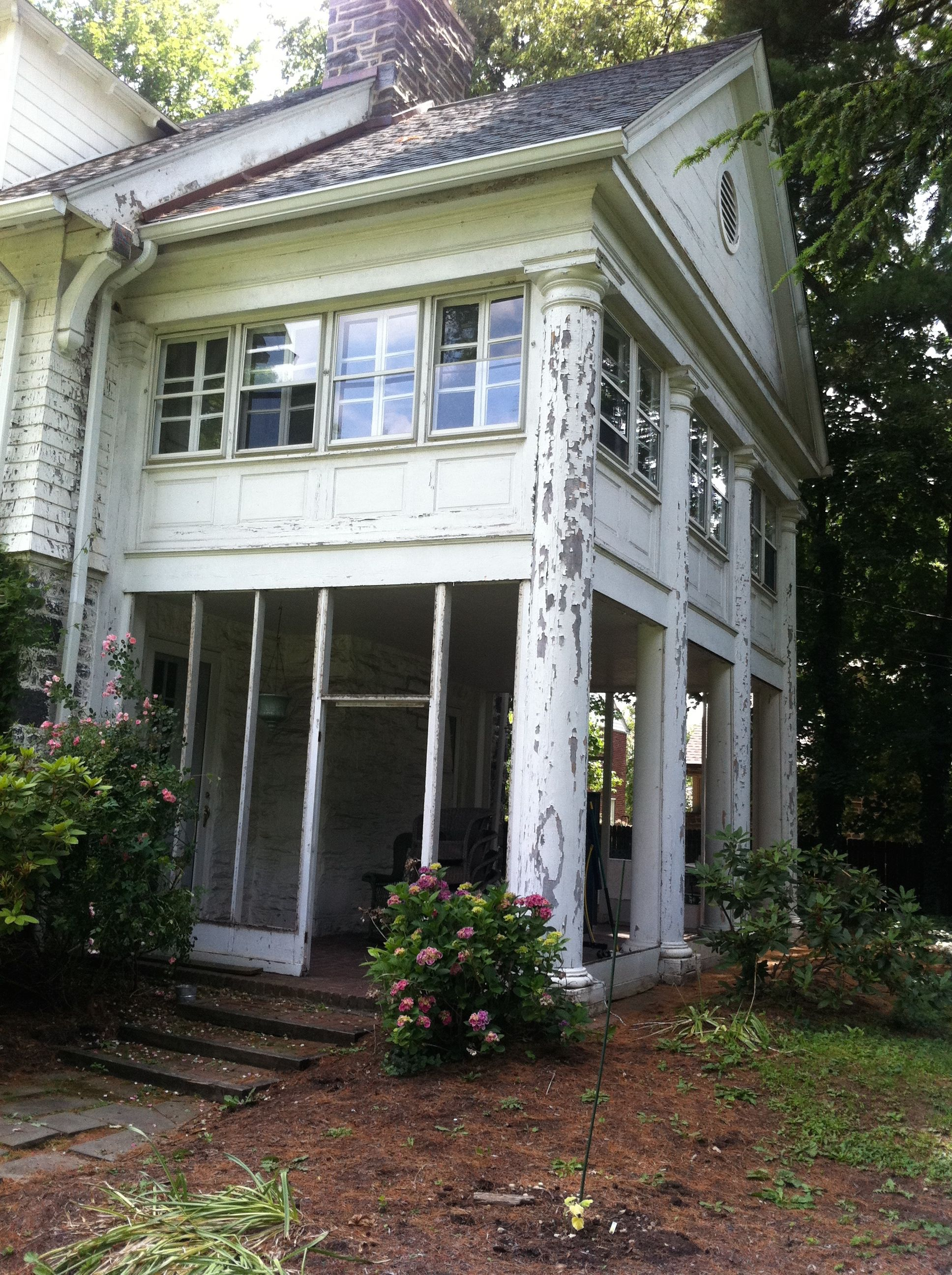 Exterior House Renovation // Ardmore, PA // Before // Pillars and Windows