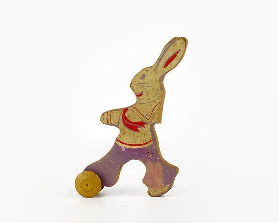 Vintage Bunny Toy Wood Rabbit Toy Antique Wooden Toy Part Easter Spring Decor Vintage Bunny Bunny Toys Rabbit Toys