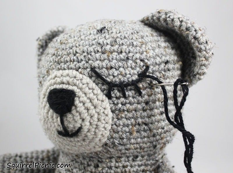 Embroidering Amigurumi Faces : How to add faces to your amigurumi part 3: sleepy face amigurumi