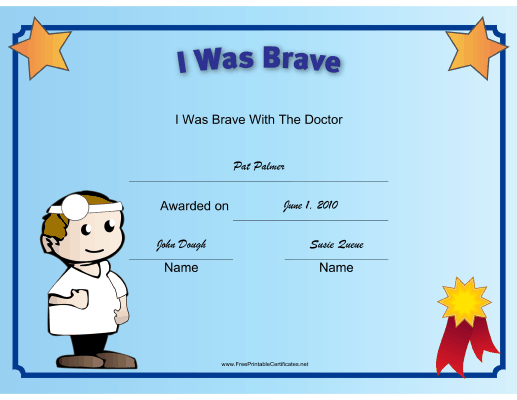 this printable certificate recognizes a childs bravery at the doctor and is illustrated with a kid doctor free to download and print