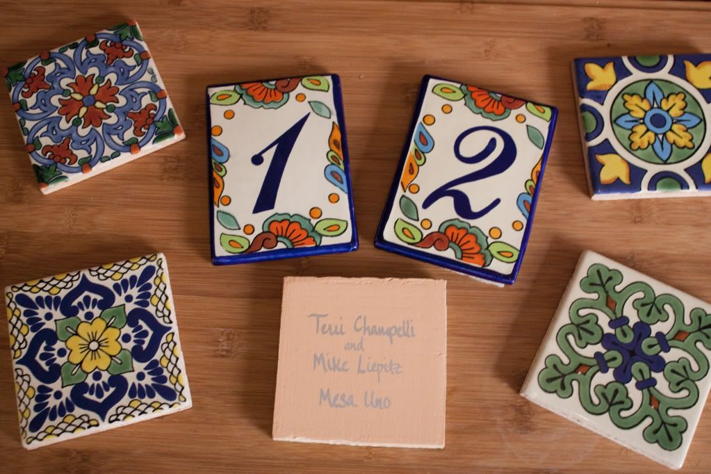 wedding table name card size%0A Mexican Talavera tiles as escort place cards and favors