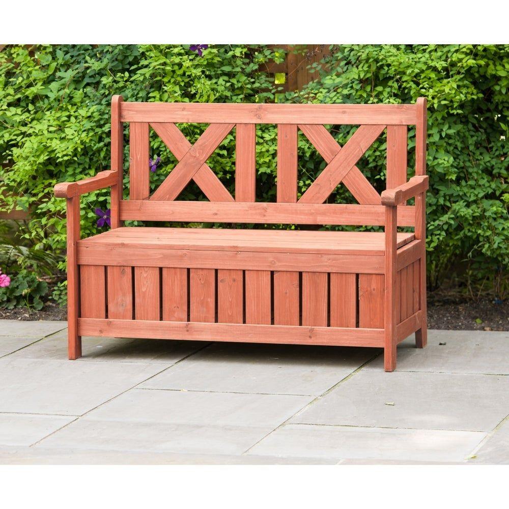 Brown Wooden Outdoor Storage Bench Bench With Storage In 2020