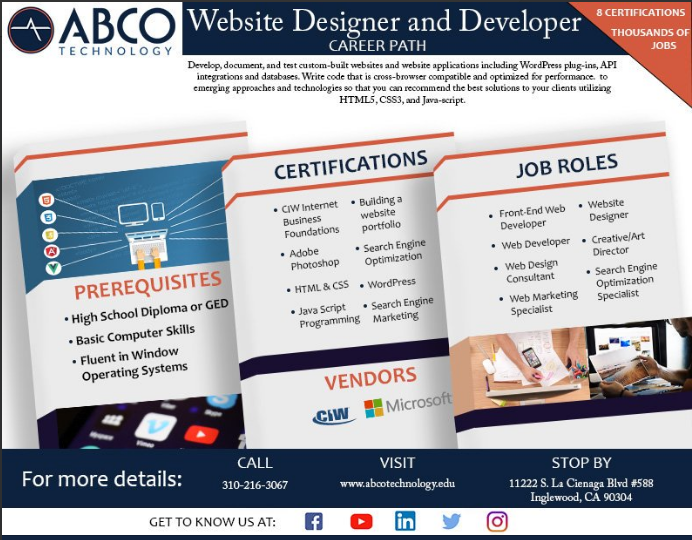 With Over 1 8 Billion Websites Active On The Internet And Growing The Demand For Certified Internet Webmast Technology Careers Tech School Computer Learning