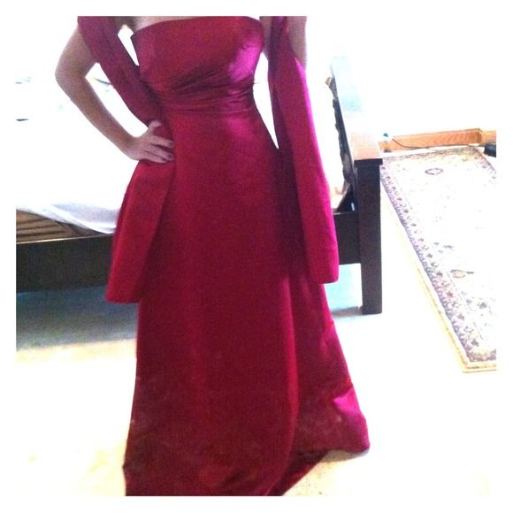 Formal Dress Deep Red Gown with Shawl. David's Bridal Dresses