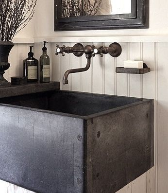 An Old Chemistry Lab Sink Works Beautifully In Powder Room Application.