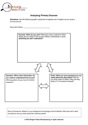 Here S A Graphic Organizer On Analyzing Primary Sources Primary