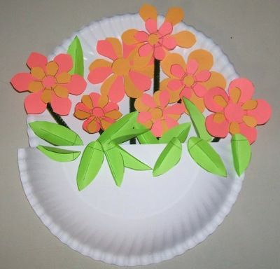 Paper Plate Flower Basket Kid S Fun Crafts Spring Crafts Paper