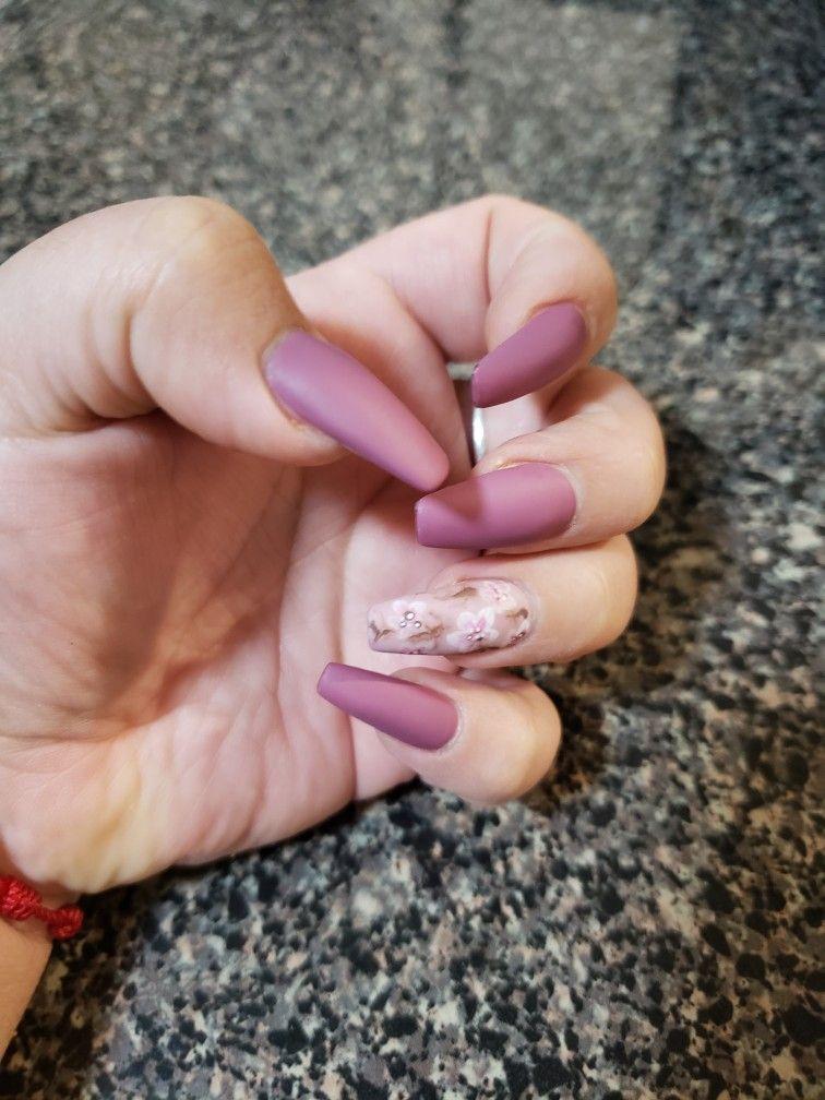 Mate Pink Coffin Cherry Blossom Design Cherry Blossom Nails Spring Nail Art Nail Designs Spring