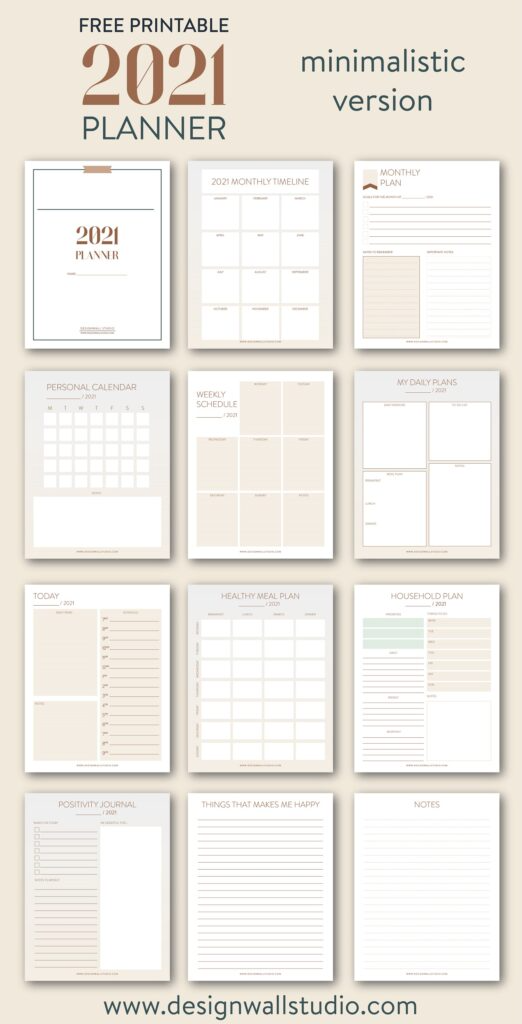 2021 Planner for free download: Print and build your own - Designwall Studio