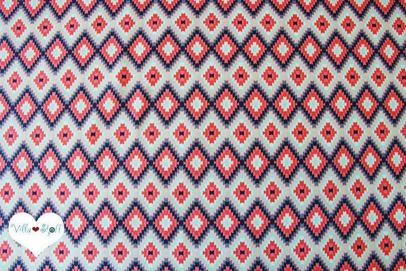 Hervorragend Stoff Grafische Muster   Sommer IKAT Stoff △ Ethno Baumwollstoff Mint Grau    Ein Designerstück Von