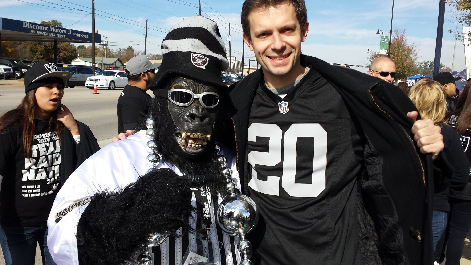 together with one of the raiders superfans