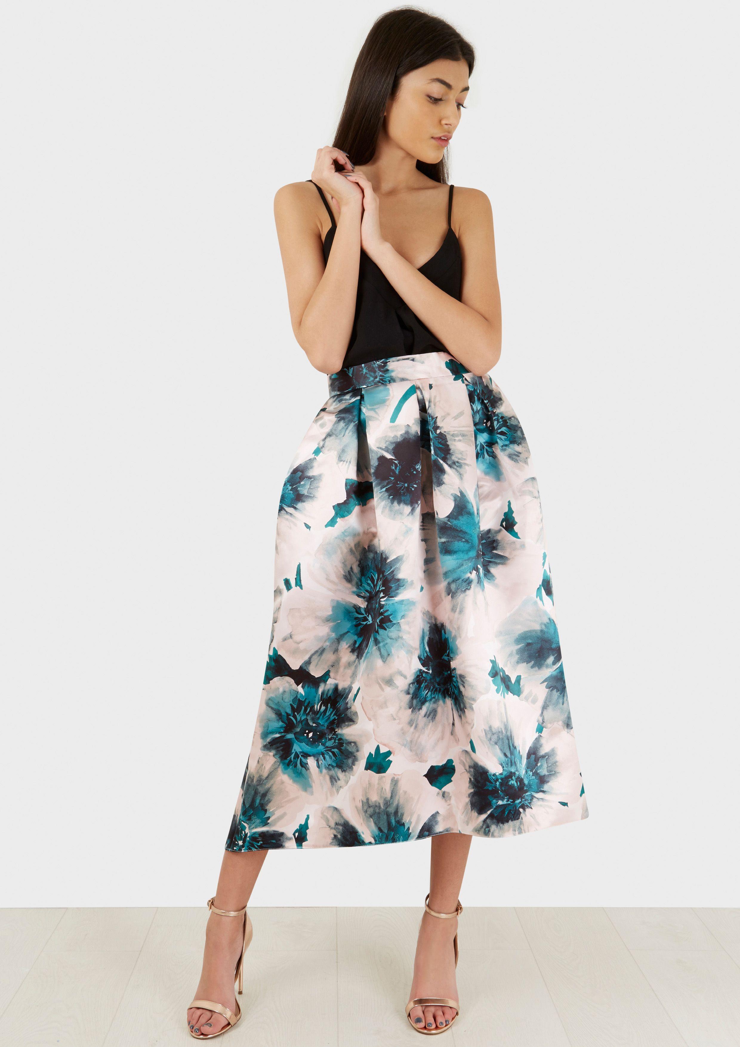 49b7714299d8 Ružová dlhá saténová sukňa s kvetmi Closet