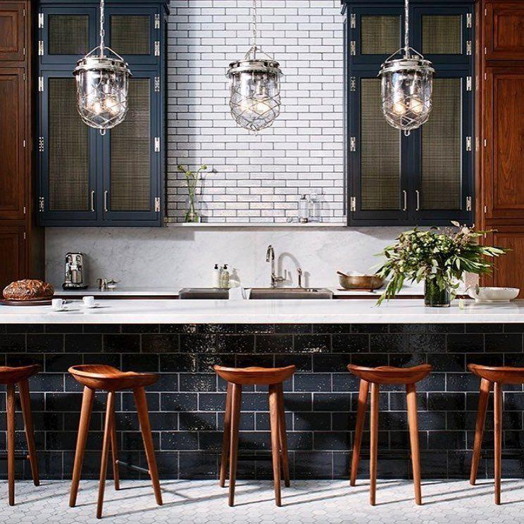 Apartments In Reno Oh: Moody! Dark Kitchen With White Subway Tile Backsplash