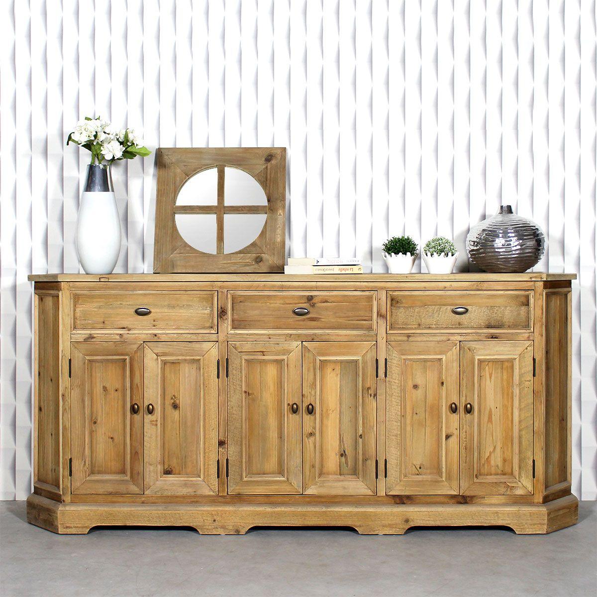 Le Buffet Enfilade Authentiq Possede Une Structure En Pin Recycle Il Vous Offrira Un Espace De Rangeme Mobilier De Salon Meuble Bois Recycle Decoration Maison