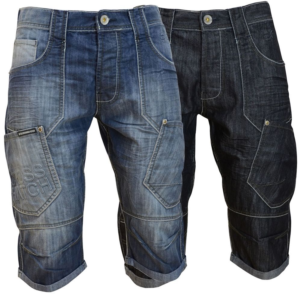 3fc49ffed5 Mens Crosshatch Combat Cargo Jeans Shorts Casual Denim Short Pants For  Summer