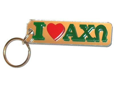 This Alpha Chi Omega I #Love #Keychain comes exactly as shown. There is a mirrored background on both the front and the back of the keychain. #Greek #Sorority #Accessories #Love #AlphaChiOmega #AChiO