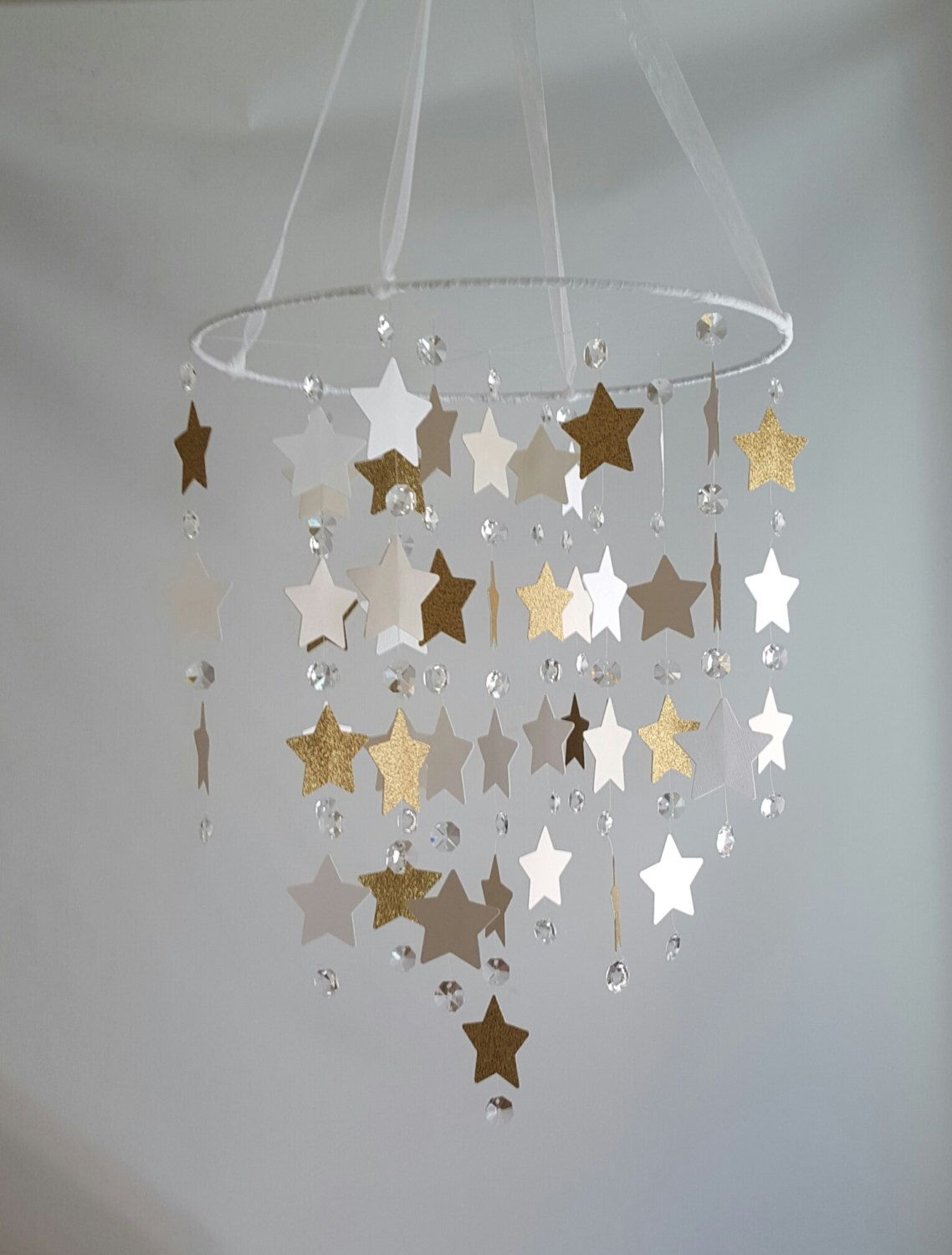 Star gold glitter taupe shimmer white crystal and star crystal star gold glitter taupe shimmer white crystal and star crystal chandelier nursery baby mobile shabby chic arubaitofo Gallery