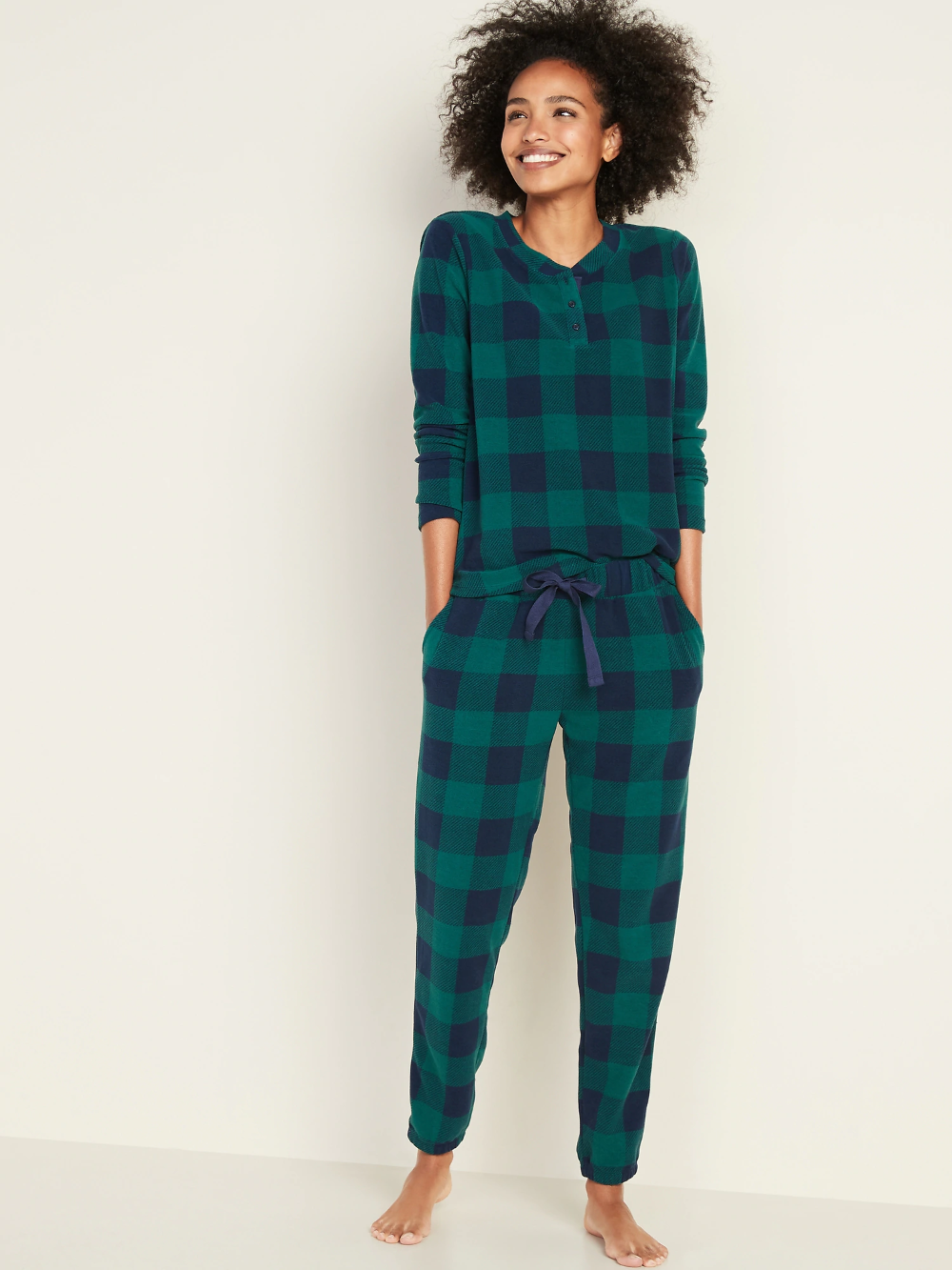 Large Micro Performance Fleece Pajama Set for Women Old