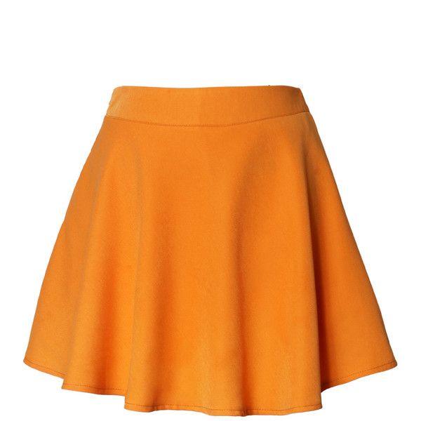 Chicwish Neon Orange Skater Skirt (£27) ❤ liked on Polyvore featuring skirts, bottoms, chicwish, orange, flared skirt, orange skirt, neon skater skirt, neon circle skirt and orange skater skirt