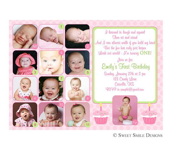 Photo 1st Birthday Invitation First Green Pink   12 Months Picture, 1 Year  Printable Digital File Custom Cupcake