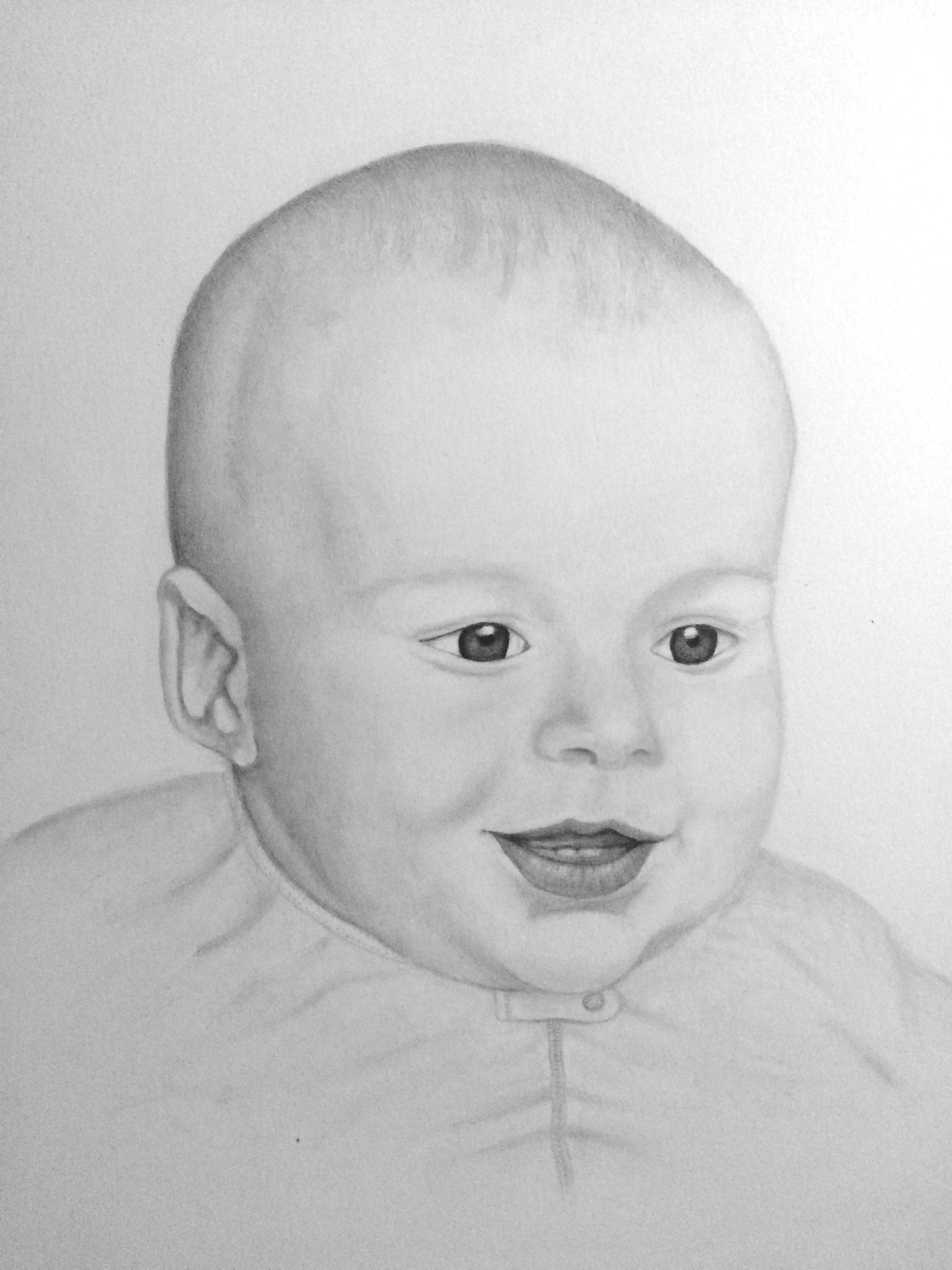 A graphite pencil drawing of a 4 month old baby boy