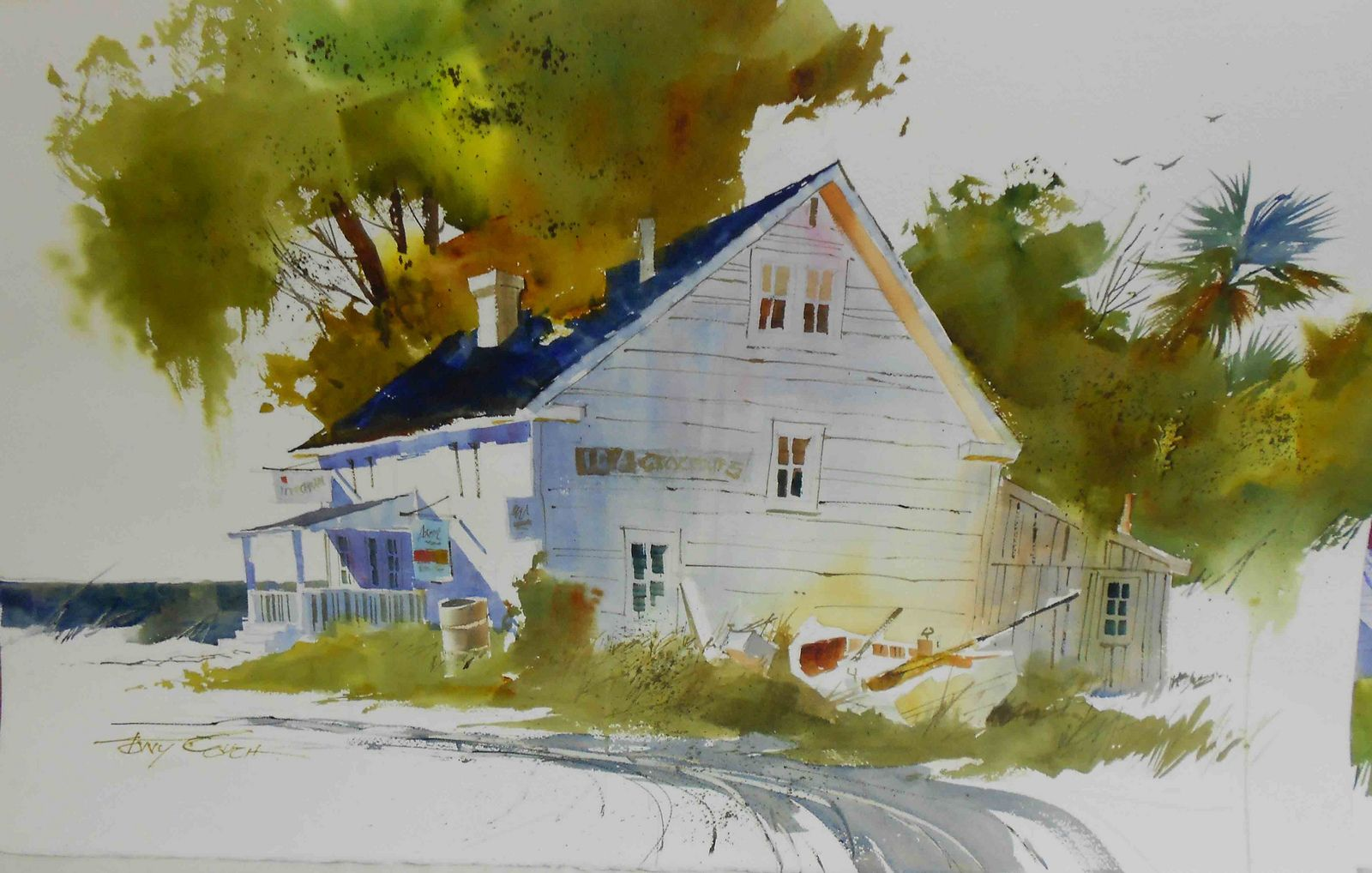 Tonycouch Beach House Painting Watercolor Painting Techniques