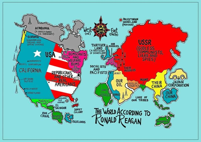 38 - The World According to Ronald Reagan Ronald reagan - new world map canvas picture
