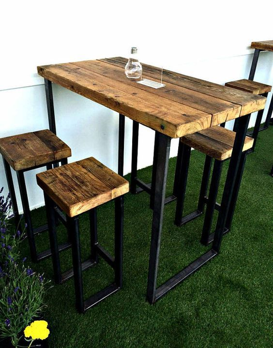 Reclaimed Industrial 4 Seater Chic Tall Poseur Table - Bar Cafe ...