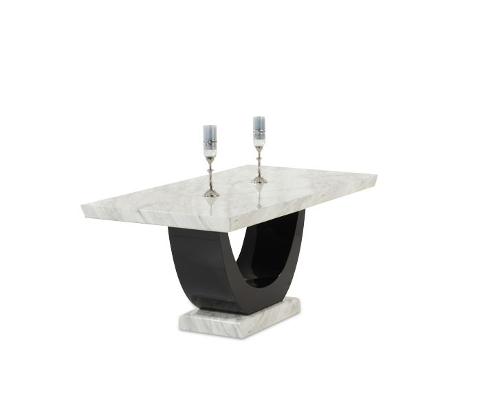 The Rezzato Cream And Black Pedestal Marble Dining Table Presents A Striking  And Unique Silhouette Thanks