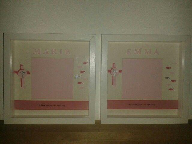 3D Bilderrahmen als Geschenk zur Erstkommunion für Zwillingsschwestern
