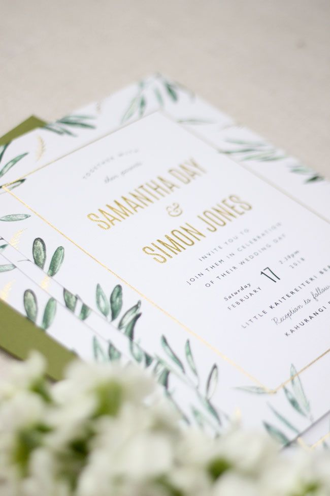 Just My Type Wedding Invitation Stationery Nz Gold Foil Stamped Olive Grove Inspired Waterc Wedding Invitations Wedding Stationery Floral Wedding Invitations