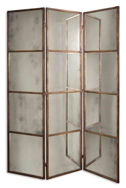 3 Panel Solid Wood Screen Room Divider Blinds Shades: 3-Panel Antiqued Gold Mirrored Folding Screen
