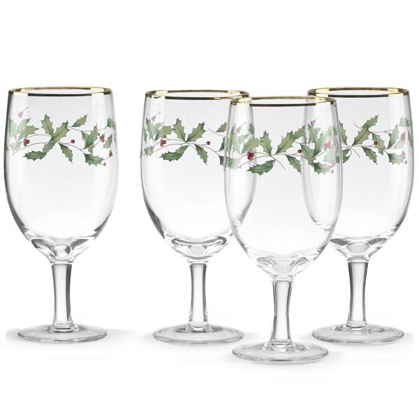 Holiday® 4-piece Iced Beverage Glass Set by Lenox | Yule Stemware ...