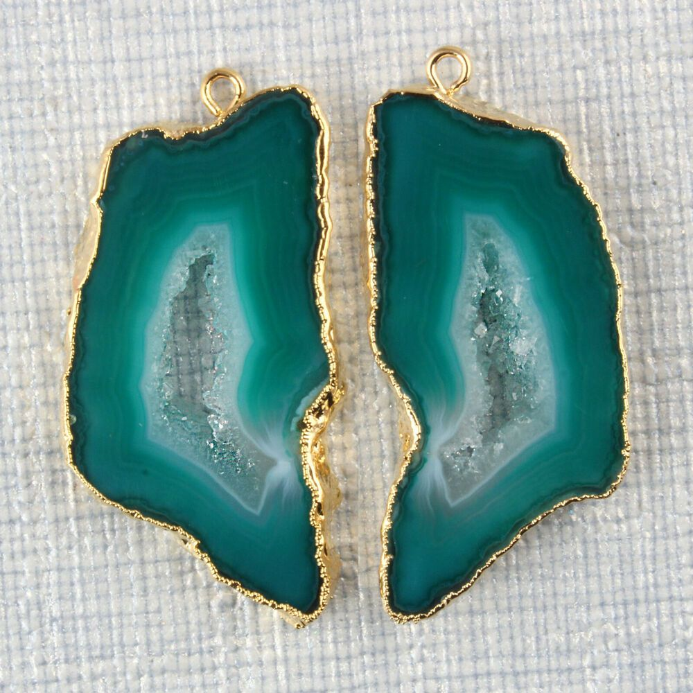 Real Colorful Printed Agate Slice Gemstone Gold Plated DIY Necklace Connectors