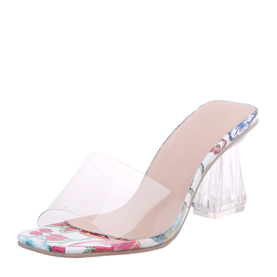 Details about  /Sexy Women Clear Platform Stilettos Floral Slippers Fashion Sandals Slip On Shoe