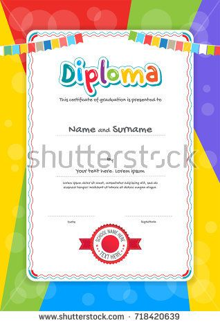 Portrait kids Diploma or certificate template with colorful