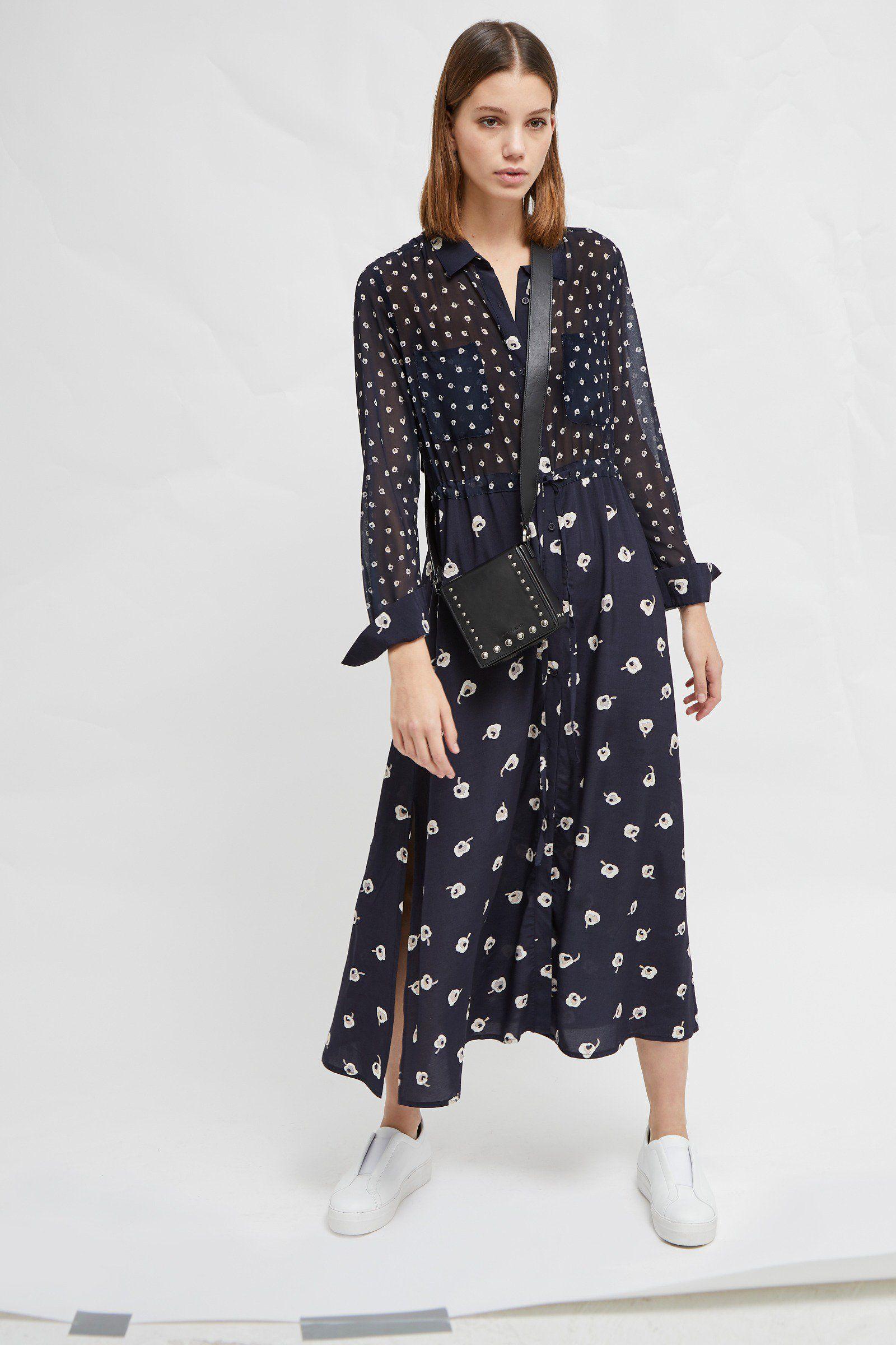 c88f57b9 <ul> <li> Mixed floral print shirt dress</li> <li> Fabric: soft, light,  smooth, slightly sheer</li> <li> Button front</li> <li> Drawstring  waist</li> <li> ...