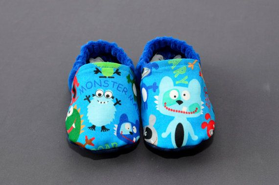 Monster Baby Shoes - 6-9 Months - Boy Infant Slippers - Blue Toddler Booties - 995