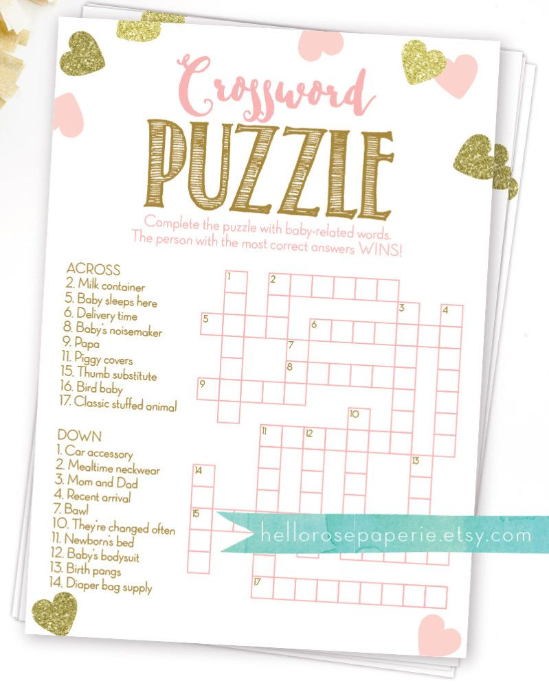 Baby Shower Crossword Puzzle Game Pink And Gold Printable