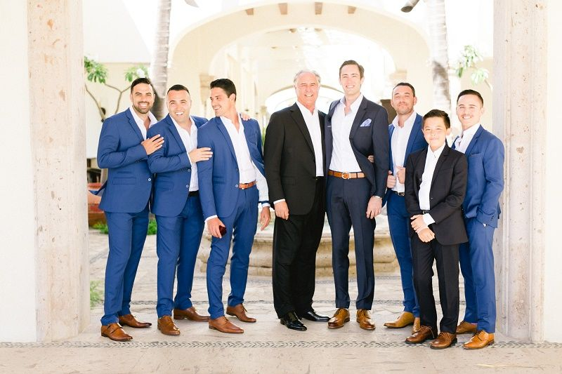 Blue Suits Brown Shoes Groom Attire Weddings At Cabo Del Sol Elena Damy Destination Wedding Planners