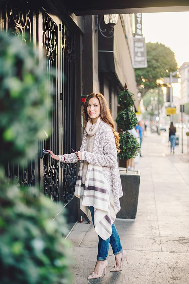 fair isle cardigan with blush turtleneck sweater by M Loves M ...