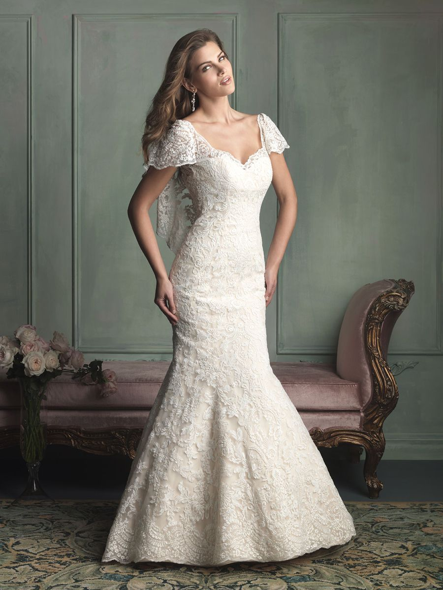 Unique short butterfly sleeves mermaid wedding dress with vback
