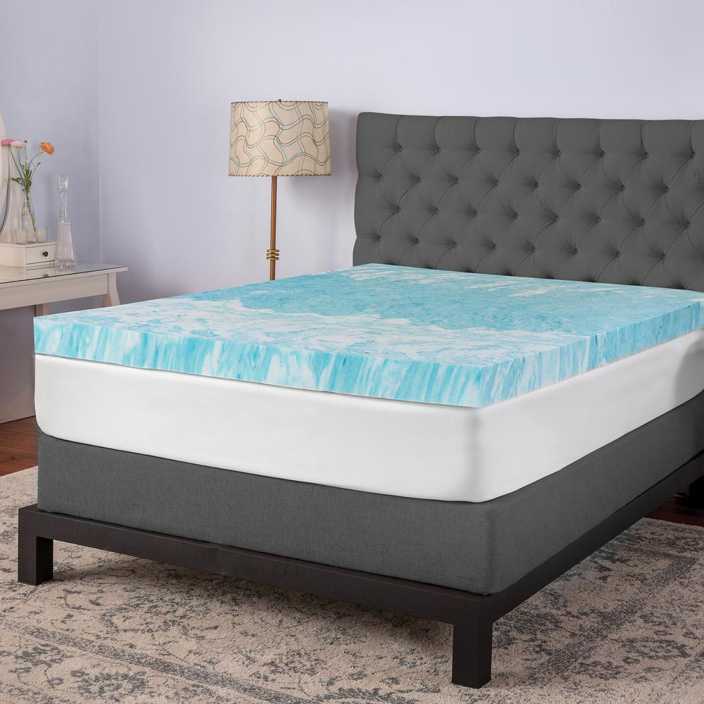 Biopedic 4 In Full Gel Memory Foam Mattress Topper Blue Memory